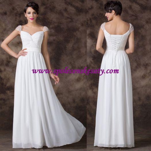 5ef3859fbc1 Krémové champagne dlouhé svatební šaty na hrubší ramínka s výšivkou a  perličkama 38 40 42 S M L