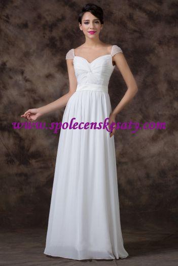 dc96ff0d0fd Krémové champagne dlouhé svatební šaty na hrubší ramínka ...