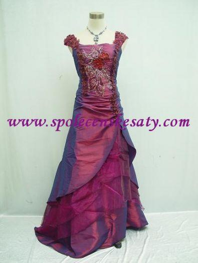 d1199b78341 Dlouhé růžové fialové společenské plesové svatební šaty s výšivkou velikost  38 40 42 S M č.