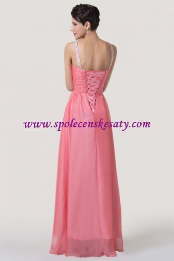 Růžové losové dlouhé luxusní společenské saténové šaty se štrasovou ozdobou  vhodné i pro těhotné vel. ... f0339860f1