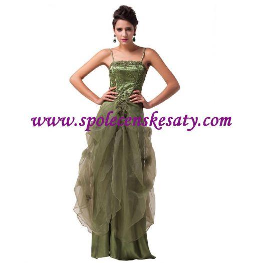 84fa31748d7b Zelené společenské dlouhé šaty s nabíranou sukní vyšívané na svatbu vel. 52  48 XXL č