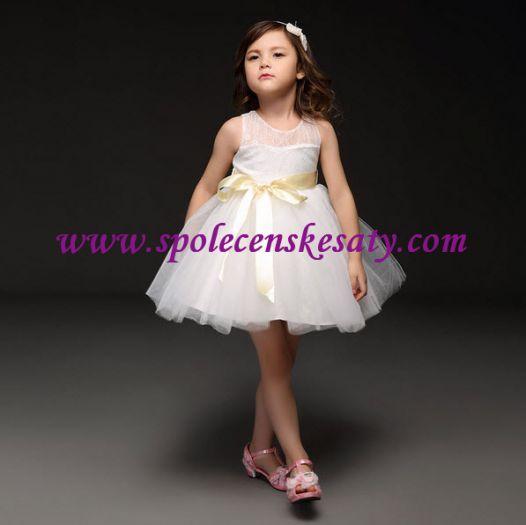 Bílé dětské svatební šaty pro družičky s nabíranou sukní a5c4dc42fb