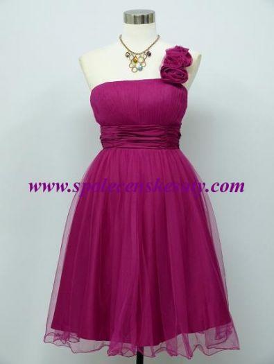 994a2ba76046 Růžové krátké společenské šaty koktejlky na jedno zdobené rameno vel. 40 42  44 M L č
