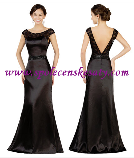 Černé dlouhé luxusní plesové společenské šaty s velkým výstřihem na zádech  vel. M L Xl 42 6c419757ef