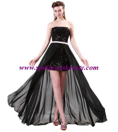 f78feffdeede Luxusní černé mini dlouhé plesové společenské šaty s dlouhou průhlednou  sukní vel. S M L 40 42