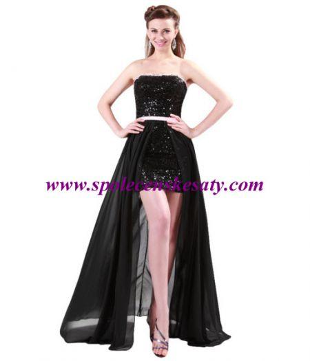 Luxusní černé mini dlouhé plesové společenské šaty s dlouhou průhlednou  sukní vel. S M L 40 42. další fotografie add43a46ce