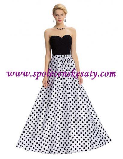 Černé bílé dlouhé luxusní společenské plesové šaty s puntíky č. L172 534aea3ca5