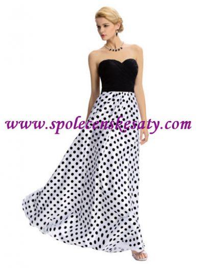 f80eda426f7 Černé bílé dlouhé luxusní společenské plesové šaty s puntíky č. L172 ...