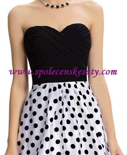 4fef9388fac Černé bílé dlouhé luxusní společenské plesové šaty s puntíky č. L172 ...
