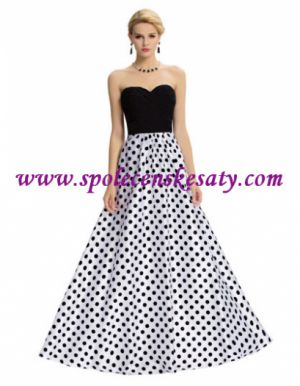 Černé bílé dlouhé luxusní společenské plesové šaty s puntíky č. L172 5adbcca2d5
