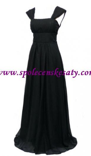 Černé dlouhé těhotenské společenské plesové šaty s ramínky ... 82ac6a4edb