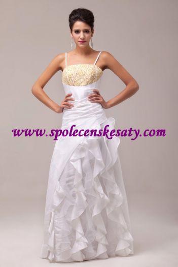 1fd8da4b266 Bílé dlouhé svatební společenské šaty do tanečních s volány 52-54 č ...