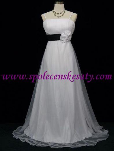 179ef7b23cd Bílé dlouhé svatební společenské plesové šaty s černým páskem a růžemi vel.  42-48