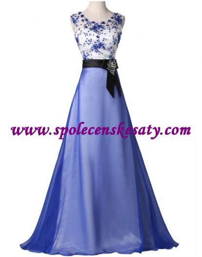 7fc1289e6d6 Modré bílé dlouhé společenské plesové šaty s květinovou krajkou a broží č.  L179