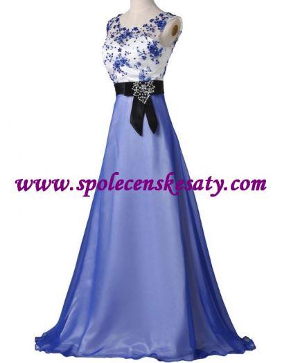 Modré bílé dlouhé společenské plesové šaty ... ff8dce239a
