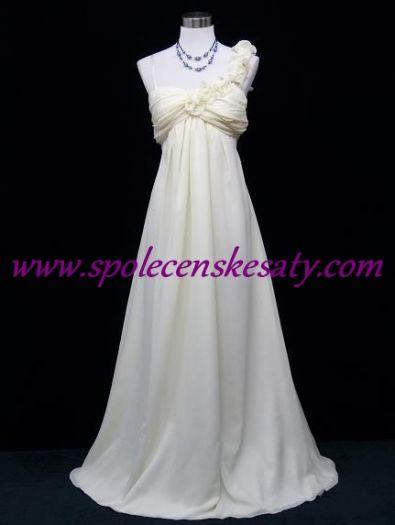 Krémové dlouhé svatební společenské šaty pro těhotné či plnoštíhlé nevěsty č.  5039 53746e9609