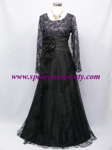 Černé dlouhé společenské šaty s krajko flitry a dlouhými rukávy na ples do  divadla č. 615045bc80