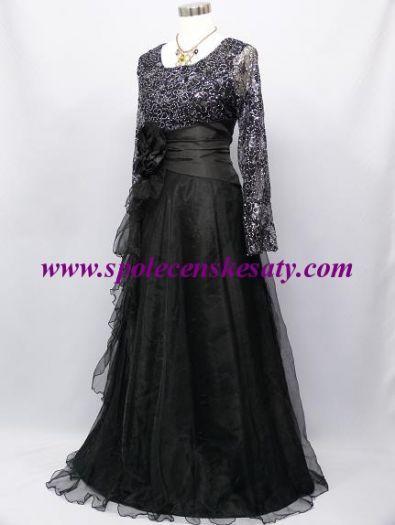 Černé dlouhé společenské šaty s krajko flitry ... 6d4f27215a8