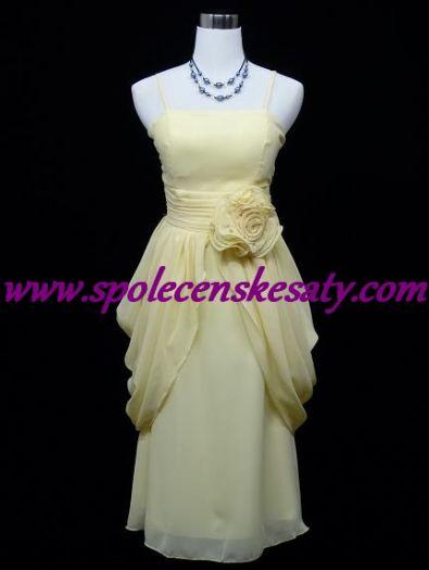 40885c3fc0a6 Žluté krémové společenské šaty po kolena s řasenými boky na svatbu