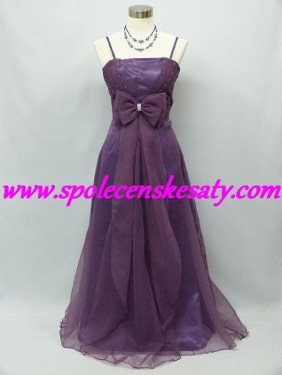 227fa0ec244 Fialové pomněnkové společenské šaty s dlouhou mašlí č. 6021
