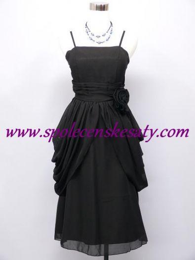 565d3a67a0e1 Černé krátké společenské šaty po kolna s nabíranou sukní na ples do divadla  č. 2260