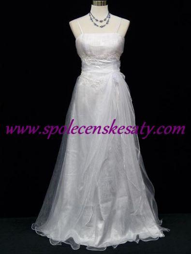 Bílé dlouhé svatební šaty pro plnoštíhlé boubelky s organzou a řasením č.  5040L 5c87e32efa