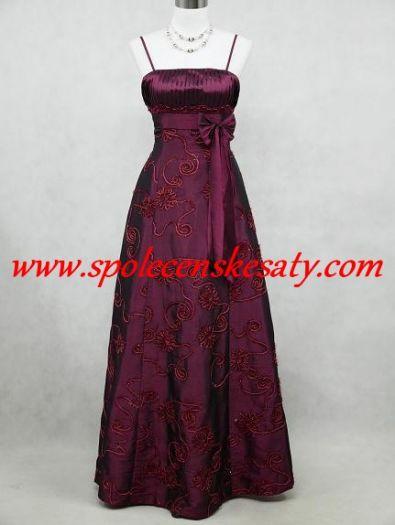 56560111ca3c Fialové dlouhé společenské šaty s plisé a výšivkou č. 2098