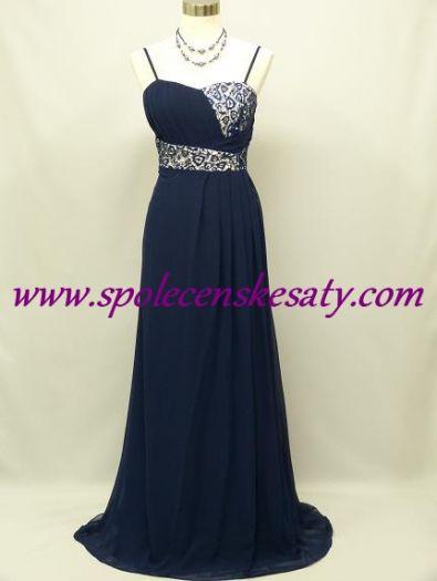 Modré splývavé společenské šaty pro těhotné či plnoštíhlé ženy s krajkou a  asymetrickým vzorem č. cedea74551f
