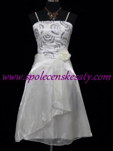 Bílé krátké společenské či svatební šaty po kolena tzv. koktejlky a flitry  a organzou č 6623150655