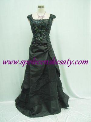 Dlouhé černé společenské plesové svatební šaty s výšivkou ...