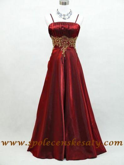 Červené dlouhé šaty na ples na svatbu se zlatou nášivkou pro plnoštíhlé vel.  48 50 9c816bf62a6