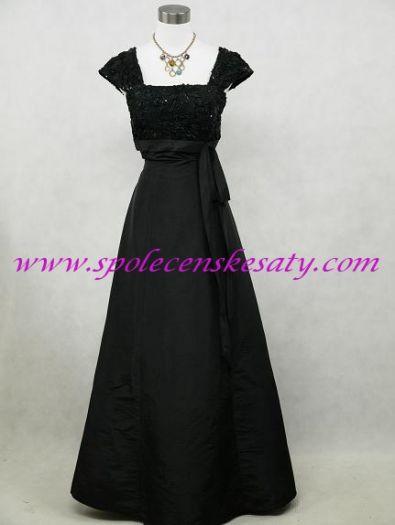 Černé dlouhé společenské plesové šaty pro plnoštíhlé s rukávem 52 - 54 č.  4069 242806a475