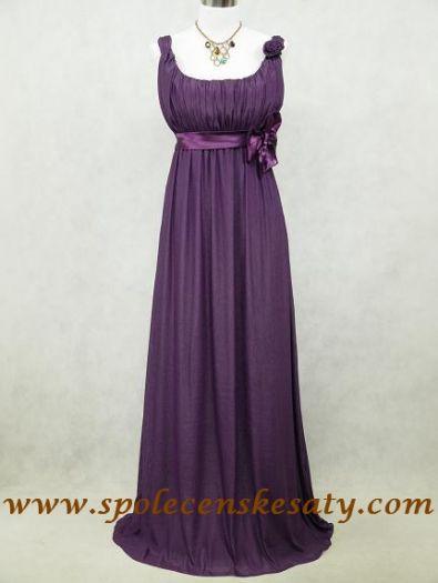 Fialové dlouhé šifonové šaty empírové vhodné i pro těhotné vel. 48 50 52 54  56 2223e2724fc