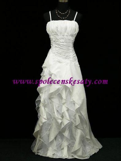 Bílé dlouhé svatební společenské šaty s řaseným topem i pro těhotné 42-44 č. 7f552d94fb