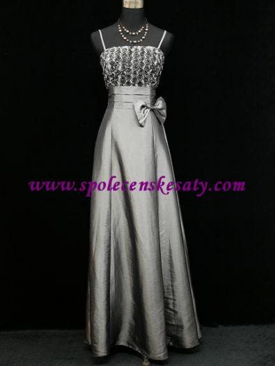 9557677fdded Stříbrné šedé plesové společenké šaty z taftu v nadměrné velikosti 48 50 52  54 56 č