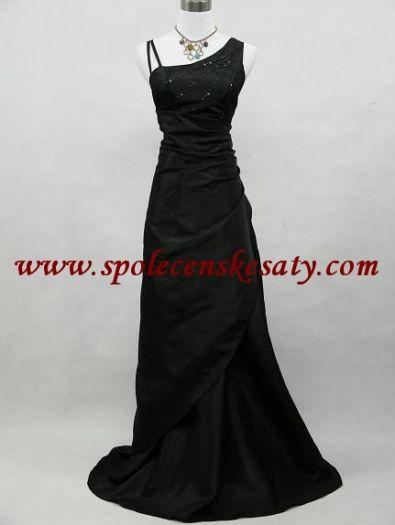 43764e6d2c8e Černé dlouhé společenské svatební plesové šaty asymetrický střih sexy zeštíhlující  vel. 38 40 S M č