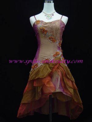 Zlaté fialové krátké asymetrické společenské šaty vpředu kratší na ples  40-42 L-XL 69cc0bf5992