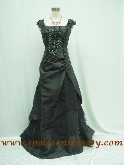b3f138c88ead Dlouhé černé společenské plesové svatební šaty s výšivkou velikost 38 40 42  S M č. 1052