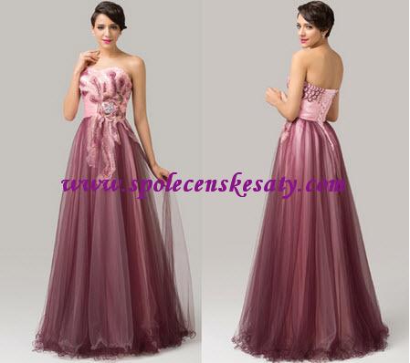 Fialové růžové večerní šaty s tylovou sukní na maturitní ples s výšivkou 42  44 XL L132 6956f33202