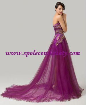 Fialové růžové společenské plesové šaty s nášivkou s dlouhou ...